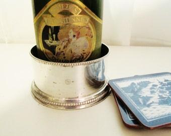 Vintage Wine Coaster, Restoration Hardware Silver Wine Coaster, Champagne Bottle Holder, Hollywood Regency, Silver and Wood Coaster