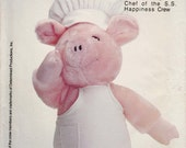 """Pig Doll Pattern Pig Plush Stuffed Animal Jambon Pig Chef of the S.S. Happiness Crew 20"""" Tall Uncut Butterick 264"""