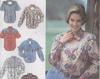 Peek a Boo Shirt Pattern Keyhole Western Fringe Button Misses Size 12 - 16 Uncut Simplicity 8259