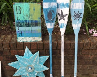 Oar Paddle Sign 40 Inch Numbers Letter Wall Art Nautical Beach House Lake Cottage Decor By CastawaysHall
