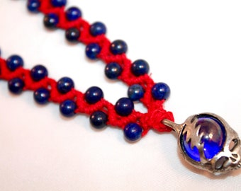 Grateful Dead inspired hemp necklace with lapis lazuli beads, macrame, micromacrame, stealie, hippie, deadhead, music festivals, dead lot