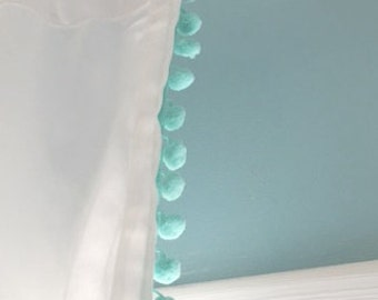 Mint Pom Pom trim curtain