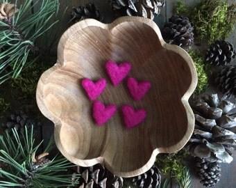 Felted wool hearts, set of 5, Happy Raspberry, Valentine gift under 20, waldorf valentine, teacher valentine gift, bright pink wool hearts