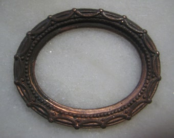 Antique Oval  Frame Finding, Original Stamped Dark Patina Brass, Pendant Jewelry Frame Finding,  40x32mm, 1 pc.
