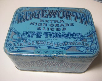 Vintage Blue Tin, Edgeworth Extra High Grade Sliced Pipe Tobacco, Larus & Bro. Richmond, Va. U.S. (b)