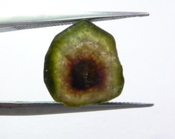 Natural watermelon / bicolor tourmaline slice. Both sides polished. 1 pc. 3.39 cts. 10x10x3 mm (TM2307)