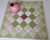 Quilted Table Topper, Table Quilt in Pink and Green, Quilted Table Runner, Cottage Chic Table Topper with Flowers, Green and Pink