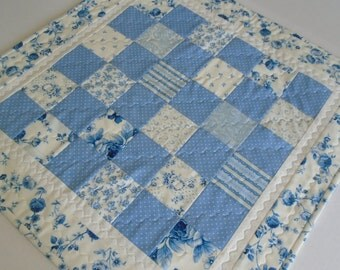 Quilted Table Topper Blue Florals, Quilted Table Runner, Square Table Quilt, Roses, Flowers, Cottage Chic Table Quilt, Blue and Ivory