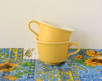 Vintage Yellow Coffee Cups or Tea Cups. USA. Rustic Country Farmhouse Tableware. Shabby Cottage Kitchen Decor. Drinkware. Housewares.