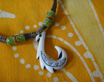 Hawaiian Tribal Fish Hook African Rasta Bead Hemp Necklace