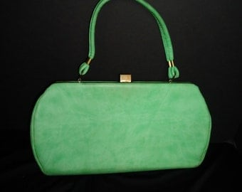 Bright Spring Green Vinyl Vintage 1950's Rockabilly Women's Handbag Purse EASTER
