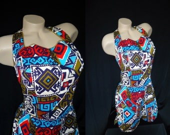 TIKI Barkcloth  Vintage 1950's Women's Cole of California Swimsuit Bathing Suit S M