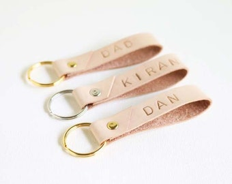 Personalised Leather Key Ring, Custom Stamped Keyring with Initials or Name