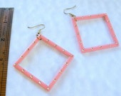 Vintage Lucite Pink Hoop Earrings