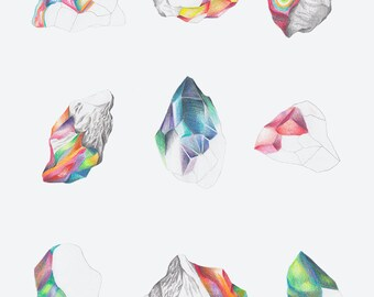 illustrated gems / crystals postcard / greeting card