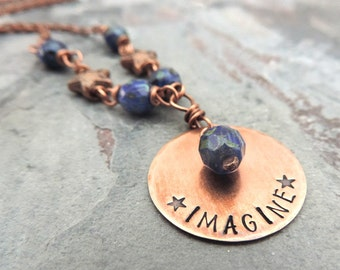 Copper Imagine Necklace with Stars and Deep Blue Beads on Long Chain