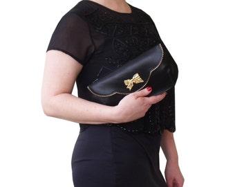 Black clutch, Leather clutch, Black evening purse, Women's leather purse