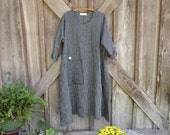RESERVED FOR ANNETTE linen dress in black gray grey stripe contemporary caftan ready to ship
