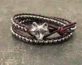 Silver Fox Bracelet Hematite Beaded Leather Fox Jewelry