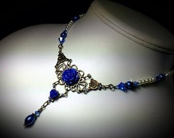 Royal Blue Pearl Victorian Necklace Cobalt Rose Crystal Choker Antique Brass Filigree Titanic Temptations Edwardian Steampunk Bridal Jewelry