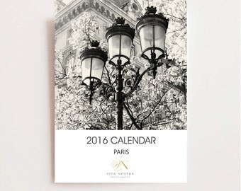 2016 Paris Desk Calendar - Black and White Calendar - France Travel Photography Prints - Christmas Gift - Stocking Stuffer - 5x5 B&W Photos