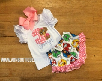 Birthday sky puppy Bow Hot Pink Ruffle Shorts Matching Boutique Hairbow 1st 2nd 3rd 4th Girls Short Long Sleeve Shirt Tank Top flutter