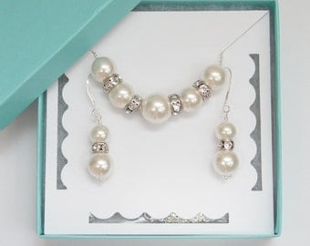 Swarovski Pearl Necklace and Earrings, Bridal Jewelry Set, Sterling Silver, Bride Jewelry, Bridesmaid Gift
