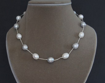 Pearl Necklace, 11x15mm, Gray Pearls, White Pearls, 17-19 inches, Bridesmaid Gift, Birthday Gift