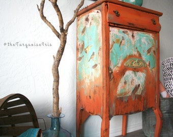 Stunning Vintage Table in Turquoise and Persimmon Rustic Boho Chic Accent Cabinet