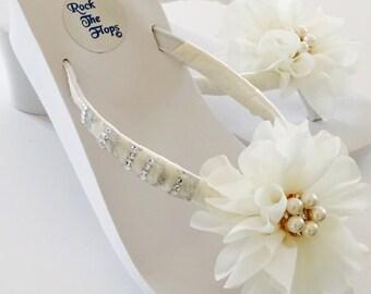 Bridal Flip Flops.Wedding Flip Flops/Wedges for Bride.White Flip Flops.Beach Wedding.Bling Flip Flops.Destination Wedding.Wedding Shoes