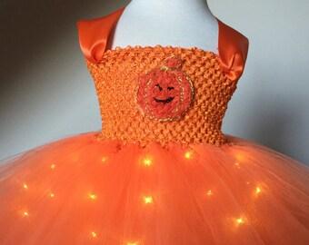 Pumpkin Tutu Dress- Pumpkin Light up Tutu Dress- Halloween Tutu Dress -Halloween Costume, Photo Prop, Birthday Tutu