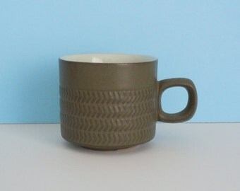 Denby Stoneware  Olive Green Coffee Cup Chevron Camelot Pattern