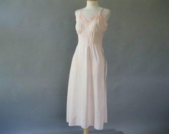 1940s Full Slip - Pink Bias Cut Slip - Trillium Bur Mil Rayon and Satin S