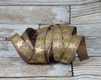 "Gold Foil Starfish on Grosgrain Ribbon 7/8"" You pick the color and style 5 yards"
