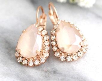 Ivory Cream Earrings, Nude Ivory Bridal Earrings, Bridal Earrings,Bridesmaids Earrings, Bridal Drop Earrings,Gift For Her,Swarovski Earrings