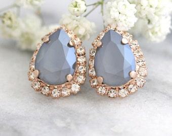 Gray Earrings, Bridal Gray Earrings, Silver Gray Earrings, Swarovski Gray Earrings, Dove Gray Earrings, Bridesmaids Earrings, Teardrop Studs