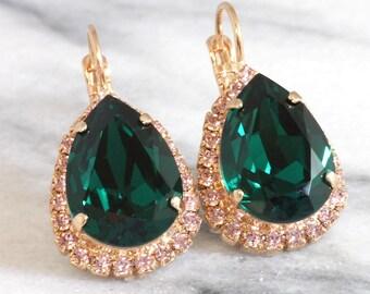Emerald Earrings,Emerald Drop Earrings,Emerald Swarovski Earrings,Swarovski Emerald Earrings,Bridal Earrings,Bridesmaids Earrings