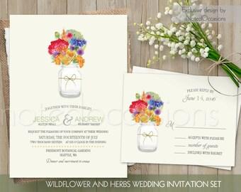 Widlflower Wedding Invitations Country Herbs Mason jar - Rustic Country Wedding Invitation | Rustic Wildflower Wedding Set DIY Digital File