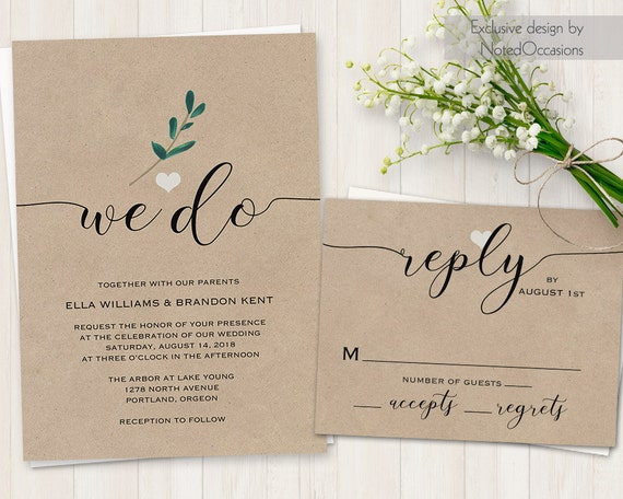 We Do Wedding Invitation Wedding Invite Modern By