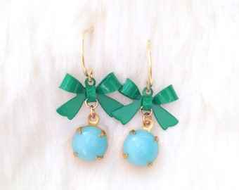 Turquoise & Green Bow Earrings