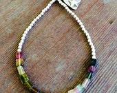 Shaded Watermelon Tourmaline Bracelet, Beaded Bracelet, Sterling Silver Bracelet, Stacking Gemstone Bracelet, Gift, Stack Bracelet