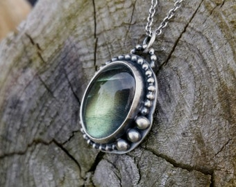 Sterling silver and Labradorite Pendant with Sterling Silver 18 inch Chain