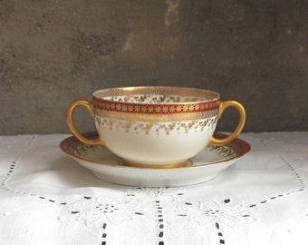 Two Porcelain Bouillon Cups w Saucers Limoges J Pouyat Antique Dinnerware