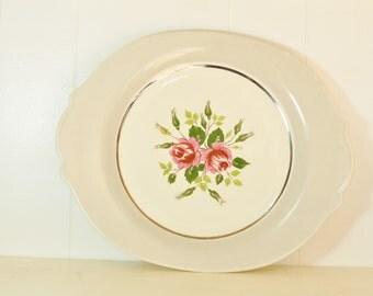 Vintage Oval Platter Rare Limoges Marsh Rose Cotillion Gray Serving Platter Plate 1950's Tray w/ Pink Fuchsia Roses