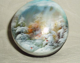 Russian small Lacquer box Shell Landscape Birds in forest Fedoskino Hand Painted