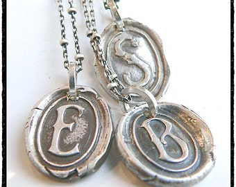 Antique Wax Seal Stamp Jewelry Initial Necklace .  Personalized