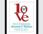 Love Wall Art. Modern Wedding, Anniversary, Engagement Announcement Wall Art. 8x10 Custom Love Wall Print Poster