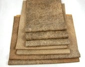 SHABBY BROWN LEATHER Reclaimed Pieces Genuine Hide Scraps 1285