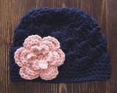 Girls Crochet Hat, Newborn Girl Hat, Navy and Light Pink Hat, Baby Girl Hat, Newborn Photography Prop, Girls Navy Hat, Baby Girl Beanie