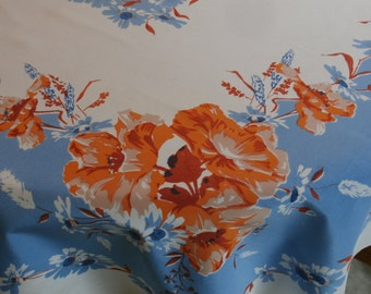 """Pretty 1950s Vintage Rayon Floral Tablecloth Sky Blue and Rust Flowers 63 1/2"""" x 52 1/2"""""""